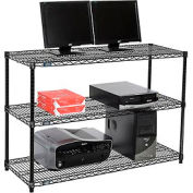 "Wire shelf Computer LANstation workstation 34""Hx18""Wx48""L, Black, 3-Shelf"