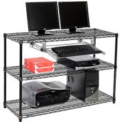 "Wire shelf Computer LANstation workstation, Keyboard Tray 34""Hx18""Wx48""L, Black, 3-Shelf"