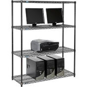 "Wire shelf Computer LANstation workstation 63""Hx18""Wx48""L, Black, 4-Shelf"
