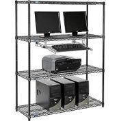 "Nexel™ 4-Shelf Wire Computer LAN Workstation with Keyboard Tray, 48""W x 18""D x 63""H, Black"