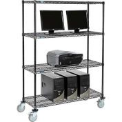 "Wire shelf Mobile Computer LANstation workstation, 69""Hx18""Wx48""L, Black, 4-Shelf"