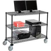"Wire shelf Mobile Computer LANstation workstation, 40""Hx18""Wx48""L, Black, 3-Shelf"
