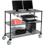 "Wire shelf Mobile Computer LANstation workstation, Keyboard Tray, 40""Hx18""Wx48""L Black, 3-Shelf"
