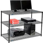 "Wire shelf Computer LANstation workstation 34""Hx24""Wx48""L, Black, 3-Shelf"