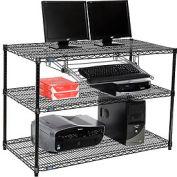 "Nexel™ 3-Shelf Wire Computer LAN Workstation with Keyboard Tray, 48""W x 24""D x 34""H, Black"