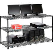 "Wire shelf Computer LANstation workstation 34""Hx24""Wx60""L, Black, 3-Shelf"