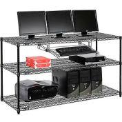 "Wire shelf Computer LANstation workstation, Keyboard Tray 34""Hx24""Wx60""L, Black, 3-Shelf"