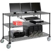 "Nexel™ 3-Shelf Mobile Wire Computer LAN Workstation w/Keyboard Tray, 60""W x 24""D x 40""H, Black"