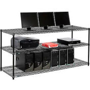 "Wire shelf Computer LANstation workstation 34""Hx24""Wx72""L, Black, 3-Shelf"
