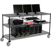 "Wire shelf Mobile Computer LANstation workstation, Keyboard Tray, 40""Hx24""Wx72""L Black, 3-Shelf"