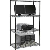 "Nexel™ 4-Shelf Wire Computer LAN Workstation, 36""W x 18""D x 63""H, Black"