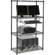 "Wire shelf Computer LANstation workstation, Keyboard Tray 63""Hx18""Wx36""L, Black, 4-Shelf"