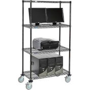 "Wire shelf Mobile Computer LANstation workstation, 69""Hx18""Wx36""L, Black, 4-Shelf"