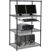 "Wire shelf Computer LANstation workstation, Keyboard Tray 63""Hx24""Wx36""L, Black, 4-Shelf"