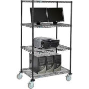 "Wire shelf Mobile Computer LANstation workstation, 69""Hx24""Wx36""L, Black, 4-Shelf"