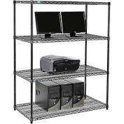 "Wire shelf Computer LANstation workstation 63""Hx24""Wx48""L, Black, 4-Shelf"