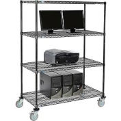 "Wire shelf Mobile Computer LANstation workstation, 69""Hx24""Wx48""L, Black, 4-Shelf"