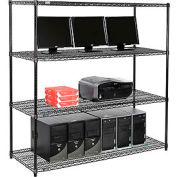 "Wire shelf Computer LANstation workstation 63""Hx24""Wx60""L, Black, 4-Shelf"