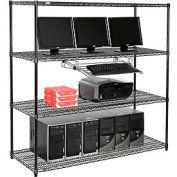 "Nexel™ 4-Shelf Wire Computer LAN Workstation with Keyboard Tray, 60""W x 24""D x 63""H, Black"