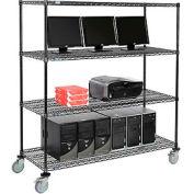 "Wire shelf Mobile Computer LANstation workstation, 69""Hx24""Wx60""L, Black, 4-Shelf"