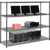 "Wire shelf Computer LANstation workstation 63""Hx24""Wx72""L, Black, 4-Shelf"