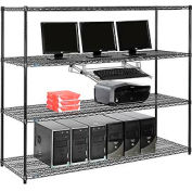 "Nexel™ 4-Shelf Wire Computer LAN Workstation with Keyboard Tray, 72""W x 24""D x 63""H, Black"