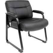 Interion™ - Big & Tall Guest Chair Black Bonded Leather