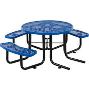 """46"""" Wheelchair Accessible Round Outdoor Steel Picnic Table - Expanded Metal - Blue"""