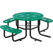 """46"""" Wheelchair Accessible Round Outdoor Steel Picnic Table - Expanded Metal - Green"""
