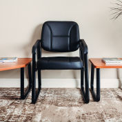 Interion® Antimicrobial Bonded Leather Reception Chair - Black