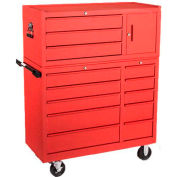"Kennedy® K1800 Series 40"" Commercial 10-Drawer Roller Cabinet w/3-Drawer Tool Chest Red"