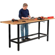 """96""""W x 30""""D Standing Height Workbench, Shop Top Square Edge - Black"""