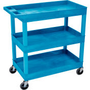 Luxor® EC111 E-Series Blue 3-Shelf Tub Cart 35-1/4 x 18 400 Lb. Cap.