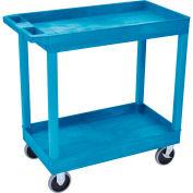 Luxor® EC11HD E-Series Blue 2-Shelf Tub Cart 35-1/4 x 18 500 Lb. Cap.