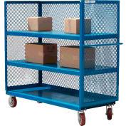 Modern Equipment MECO 3S3672-3R-B 3-Sided Steel Mesh Service Truck 72x36 3 Shelves Blue