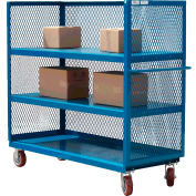 Modern Equipment MECO 3S2460-4R-R 3-Sided Steel Mesh Service Truck 60x24 4 Shelves Red