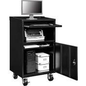"Mobile Computer Cabinet, 27""W x 24""D x 49-1/2""H, Black, Unassembled"