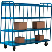 Modern Equipment MECO TS3048R-B 3-Sided 4-Shelf Slatted Panel Steel Truck 48x30 Blue