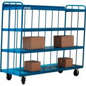 Modern Equipment MECO TS3672R-B 3-Sided 4-Shelf Slatted Panel Steel Truck 72x36 Blue