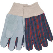 Memphis® Clute Pattern Leather Palm Gloves with Knit Wrist, Size L, 1 Dozen