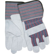 "Memphis® Leather Palm Gloves with 4-1/2"" Rubberized Gauntlet Cuff, Size L, 1 Dozen"