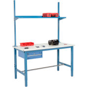 "60""W x 30""D Production Workbench - ESD Laminate Safety Edge with Drawer, Upright & Shelf - Blue"