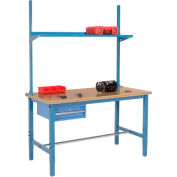 """60""""W x 36""""D Production Workbench with Drawer, Upright & Shelf, Shop Top Square Edge- Blue"""