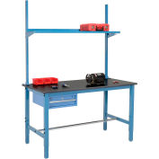 "60""W x 36""D Production Workbench with Drawer, Upright & Shelf, Phenolic Resin Safety Edge- Blue"