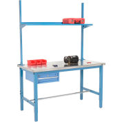 "72""W x 30""D Production Workbench - Stainless Steel with Drawer, Upright & Shelf - Blue"