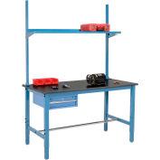 "72""W x 30""D Production Workbench with Drawer, Upright & Shelf, Phenolic Resin Safety Edge- Blue"