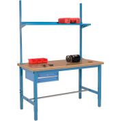 "72""W x 30""D Production Workbench with Drawer, Upright & Shelf, Shop Top Safety Edge- Blue"