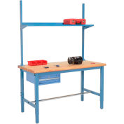 """72""""W x 30""""D Production Workbench with Drawer, Upright & Shelf, Maple Butcher Block Square Edge- Blue"""