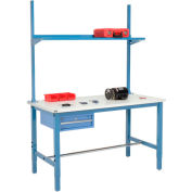 "72""W x 36""D Production Workbench with Drawer, Upright & Shelf, ESD Laminate Square Edge- Blue"