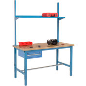 "96""W x 30""D Production Workbench with Drawer, Upright & Shelf, Shop Top Square Edge- Blue"